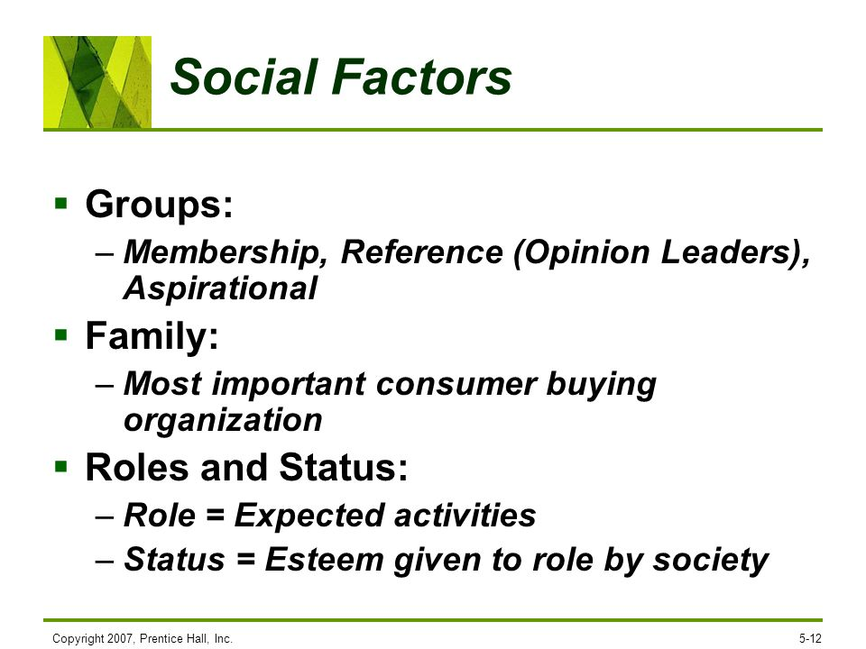 Social Factors Groups: Family: Roles and Status: