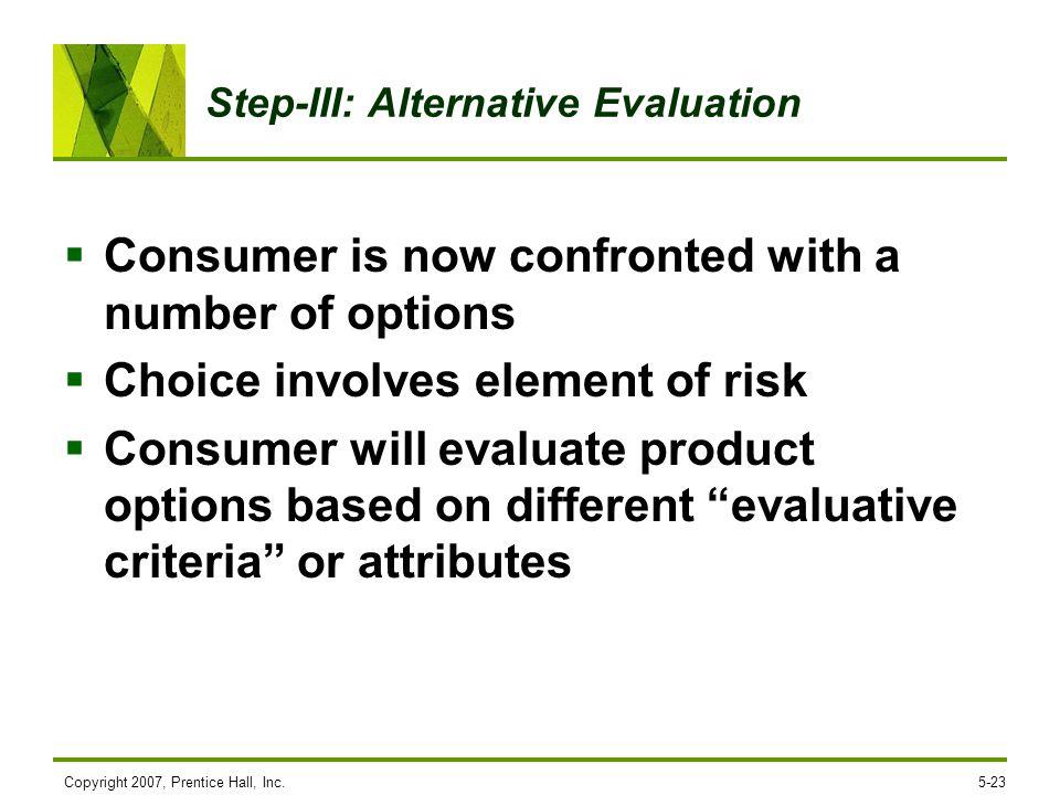 Step-III: Alternative Evaluation