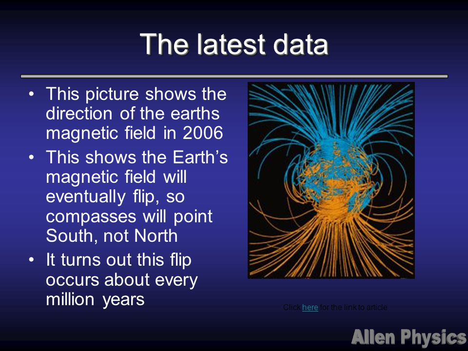 The latest data This picture shows the direction of the earths magnetic field in 2006.