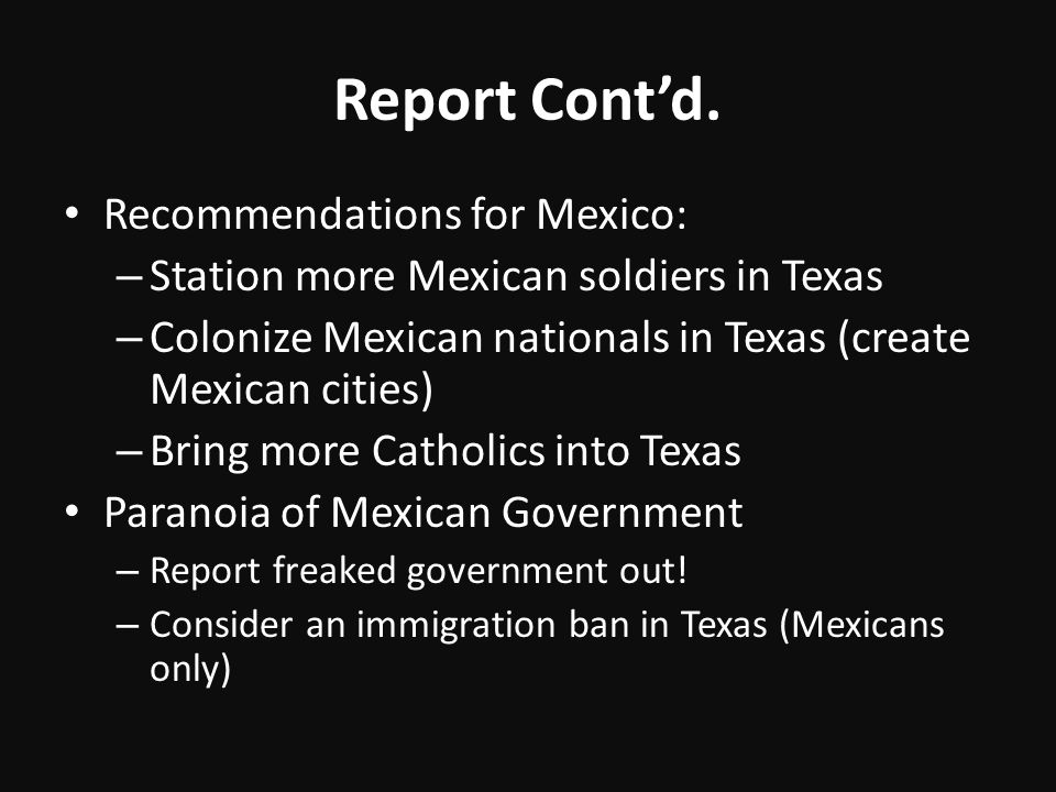 Report Cont'd. Recommendations for Mexico: