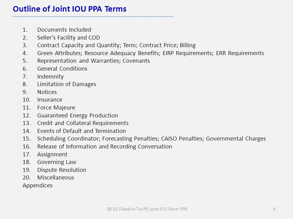 SB 32 (Feed-in-Tariff) Joint IOU Form PPA