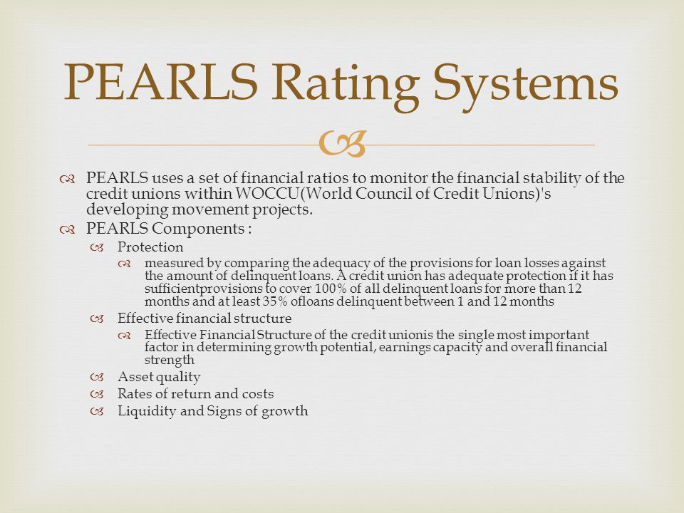 PEARLS Rating Systems