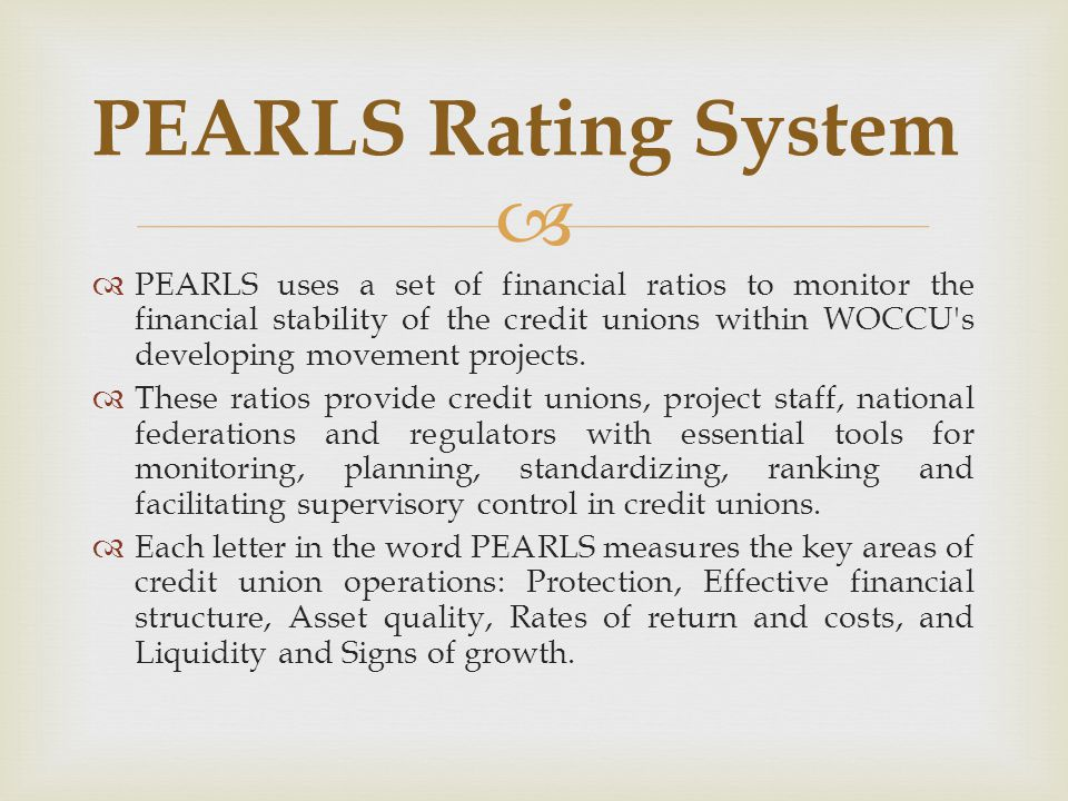 PEARLS Rating System