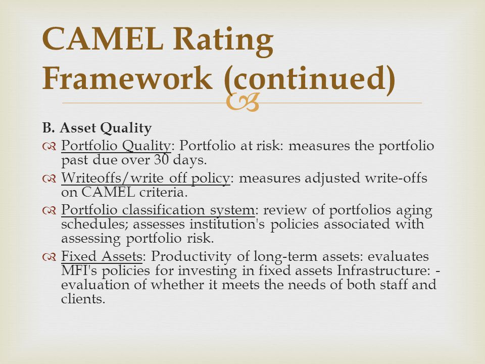 CAMEL Rating Framework (continued)