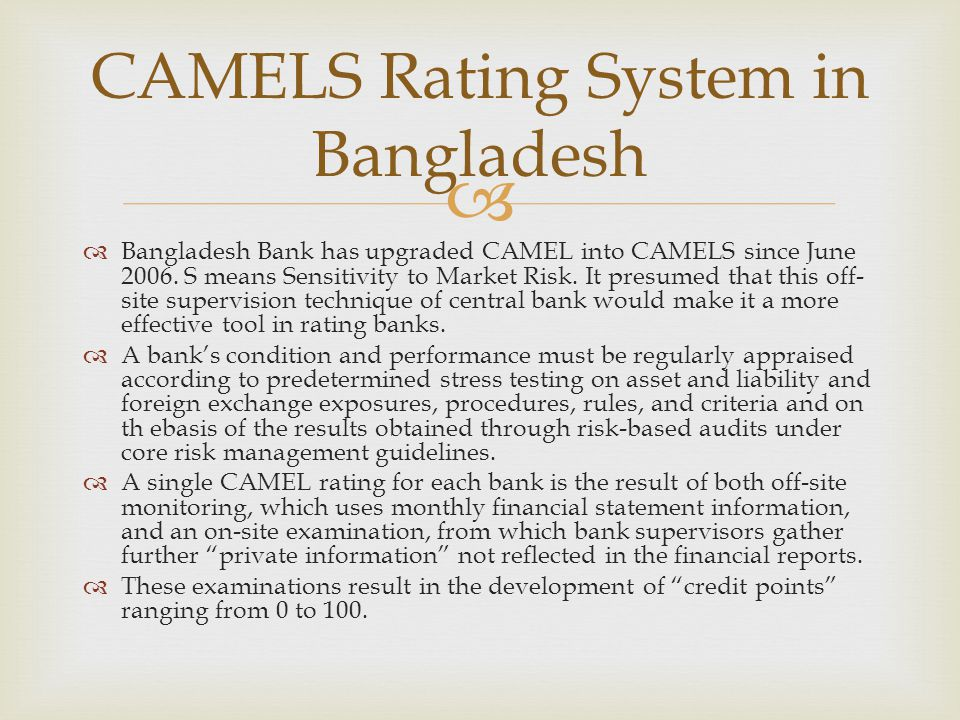 camel rating report on ab bank Sr 90-21 (ib ) june 22, 1990: to the  similar to those used in the uniform bank rating system (camel)  adjustment in the closed section of the report.