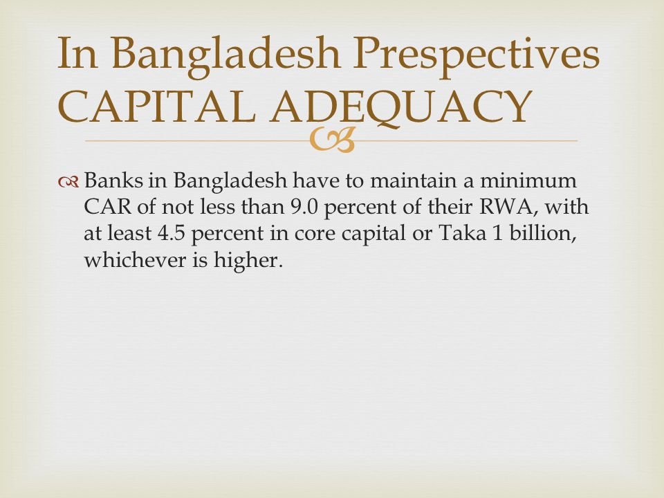 In Bangladesh Prespectives CAPITAL ADEQUACY