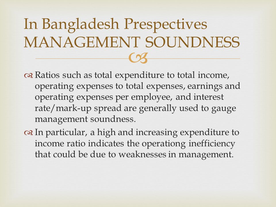 In Bangladesh Prespectives MANAGEMENT SOUNDNESS