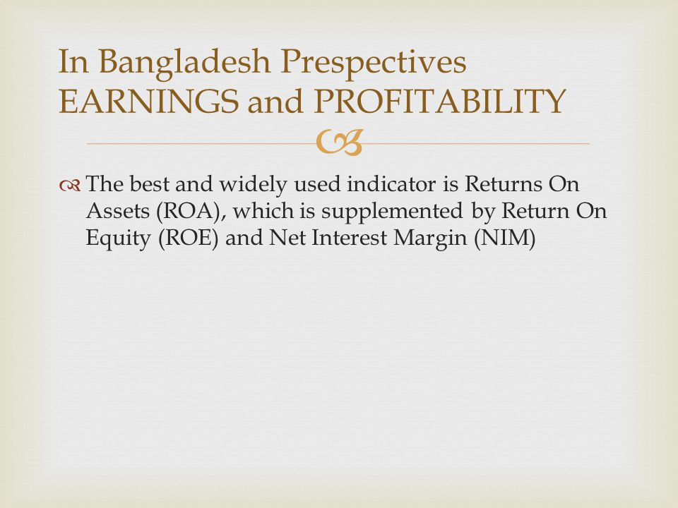 In Bangladesh Prespectives EARNINGS and PROFITABILITY