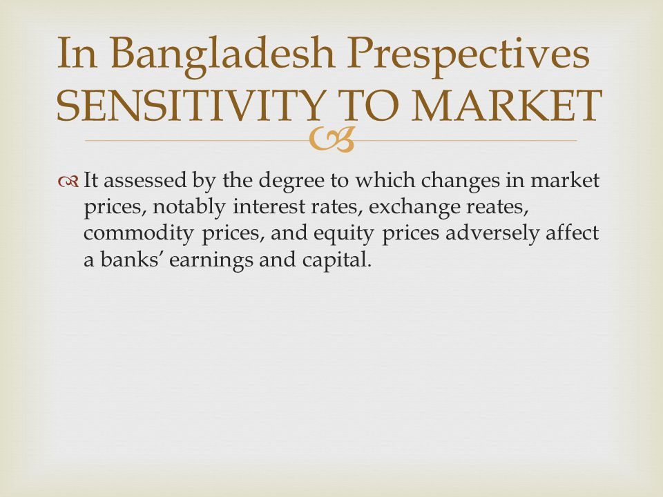 In Bangladesh Prespectives SENSITIVITY TO MARKET