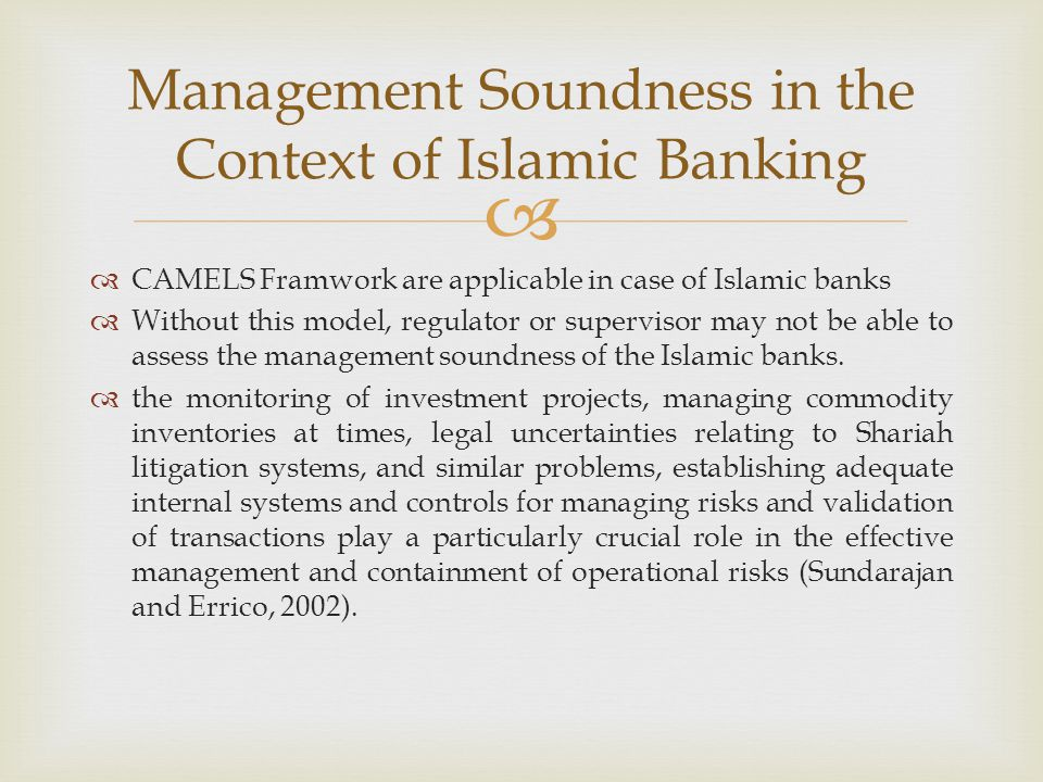 Management Soundness in the Context of Islamic Banking