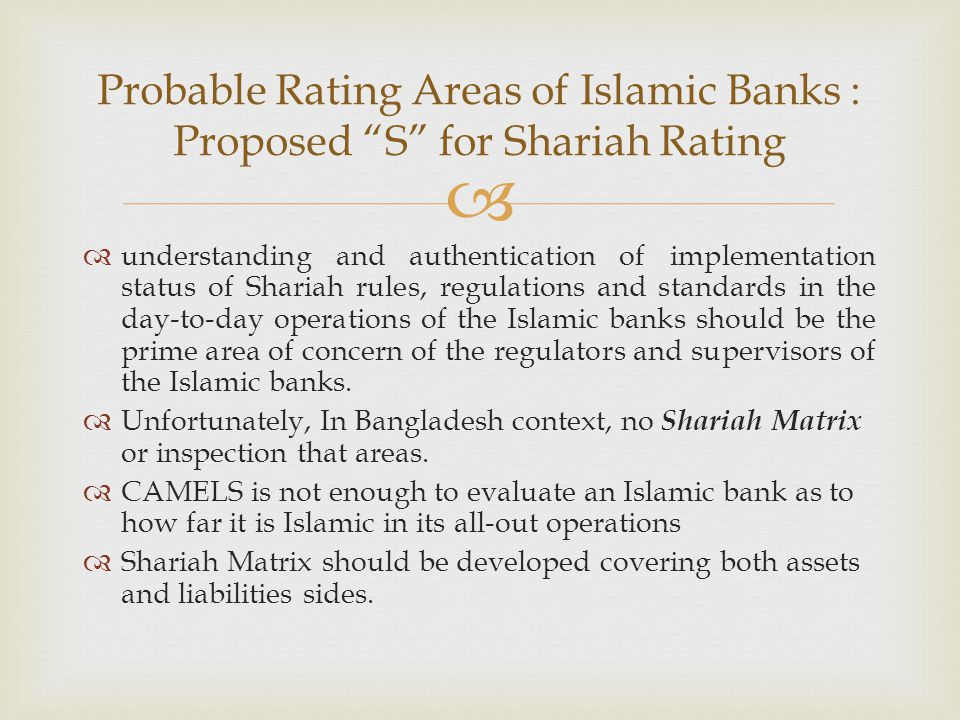 Probable Rating Areas of Islamic Banks : Proposed S for Shariah Rating