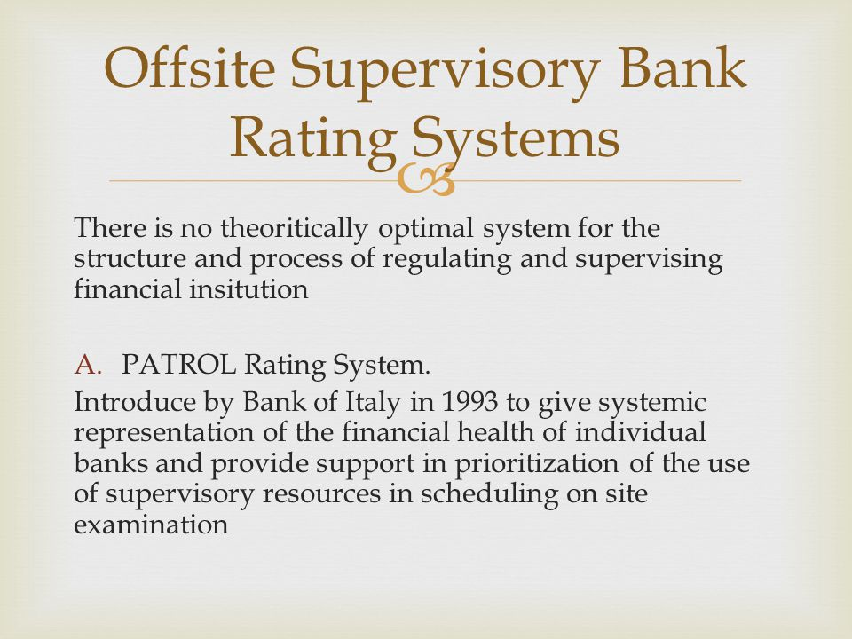 Offsite Supervisory Bank Rating Systems