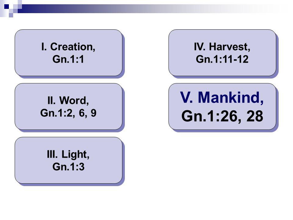 V. Mankind, Gn.1:26, 28 I. Creation, Gn.1:1 IV. Harvest, Gn.1:11-12