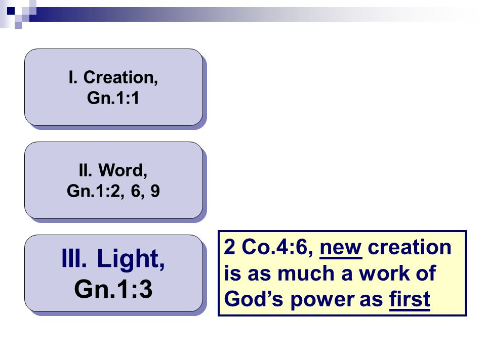 I. Creation, Gn.1:1 II. Word, Gn.1:2, 6, 9. 2 Co.4:6, new creation is as much a work of God's power as first.