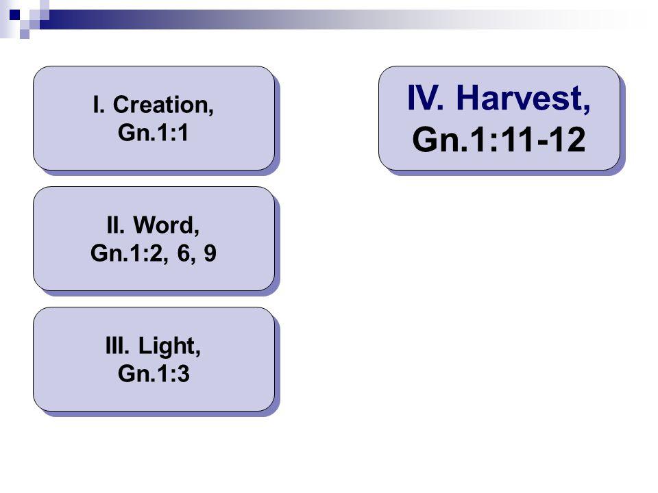 IV. Harvest, Gn.1:11-12 I. Creation, Gn.1:1 II. Word, Gn.1:2, 6, 9
