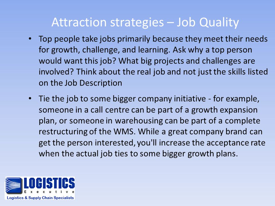 Attraction strategies – Job Quality