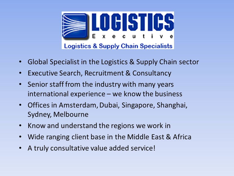 Global Specialist in the Logistics & Supply Chain sector
