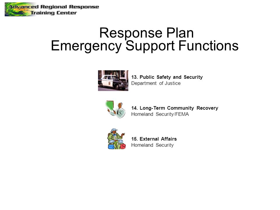 Response Plan Emergency Support Functions