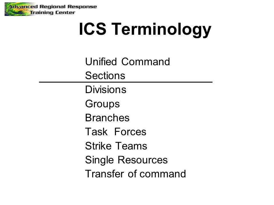 ICS Terminology Unified Command Sections Divisions Groups Branches