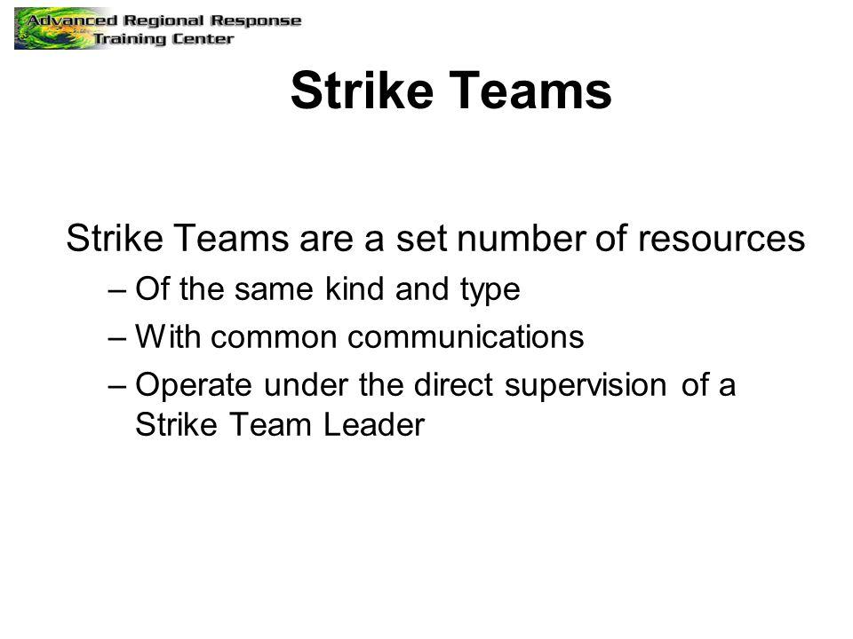 Strike Teams Strike Teams are a set number of resources