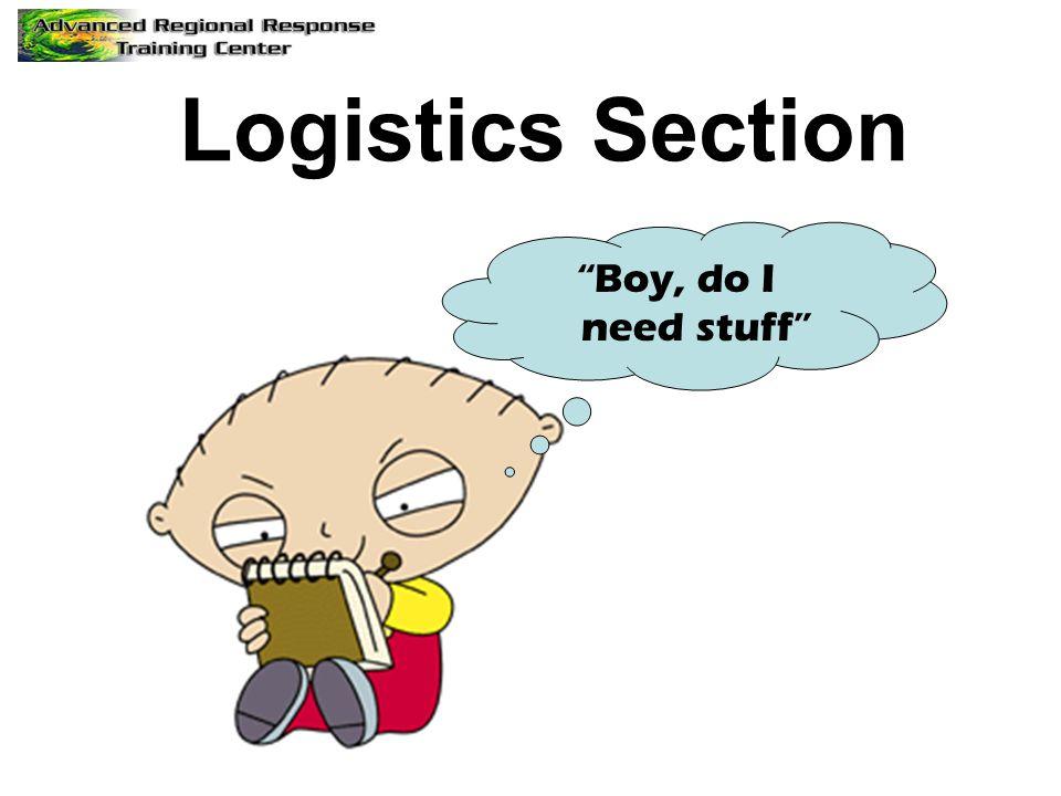 Logistics Section Boy, do I need stuff