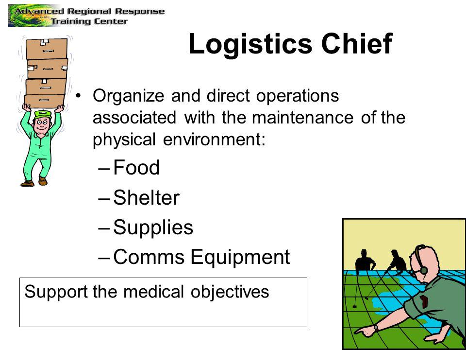 Logistics Chief Food Shelter Supplies Comms Equipment