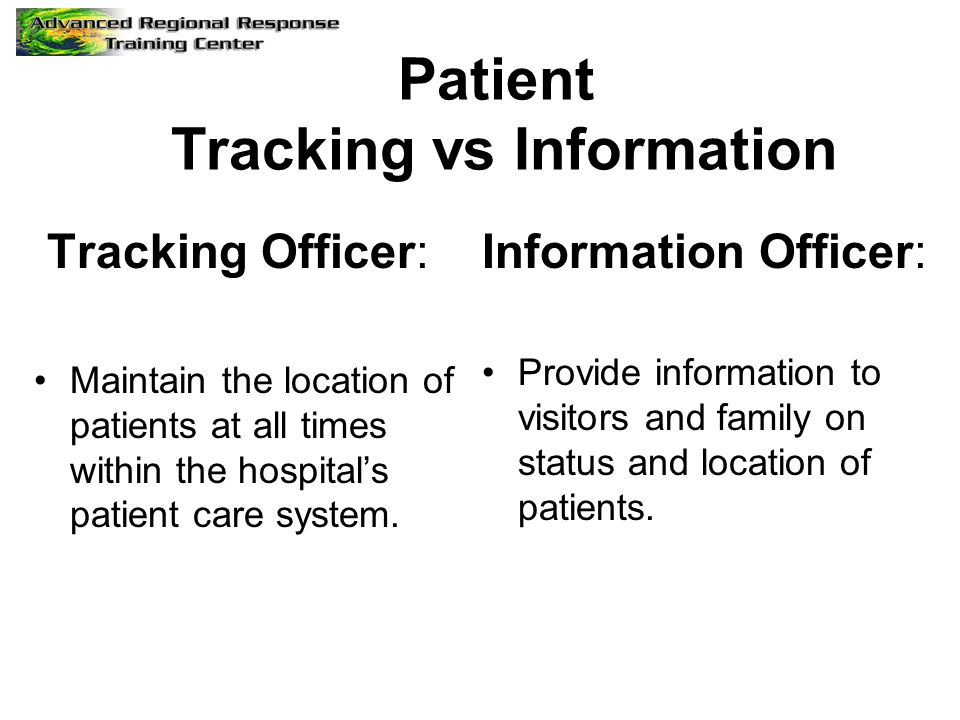 Patient Tracking vs Information