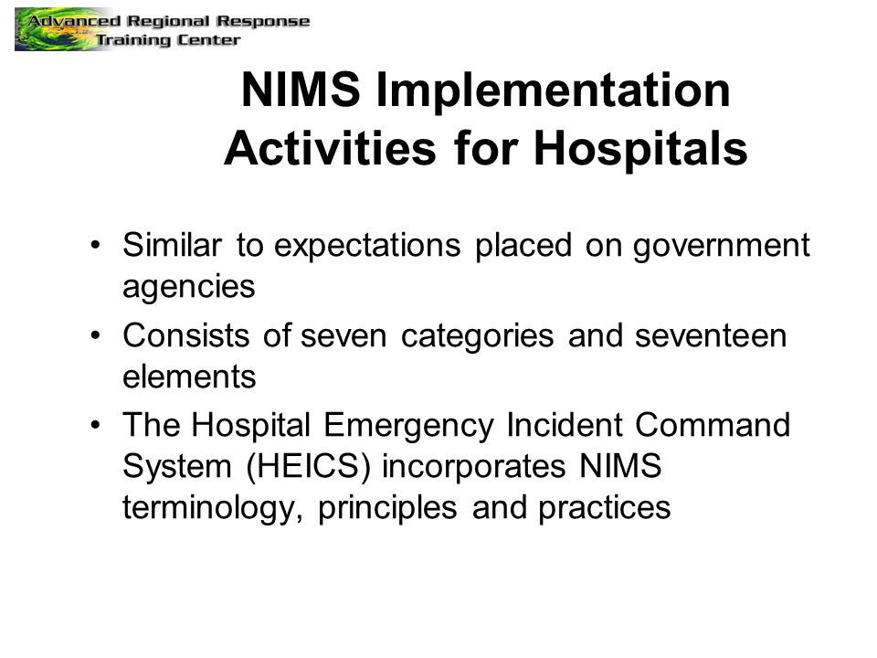 NIMS Implementation Activities for Hospitals