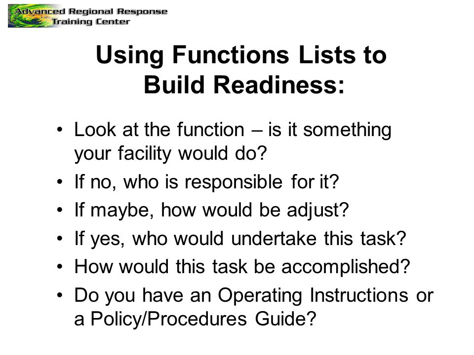 Using Functions Lists to Build Readiness: