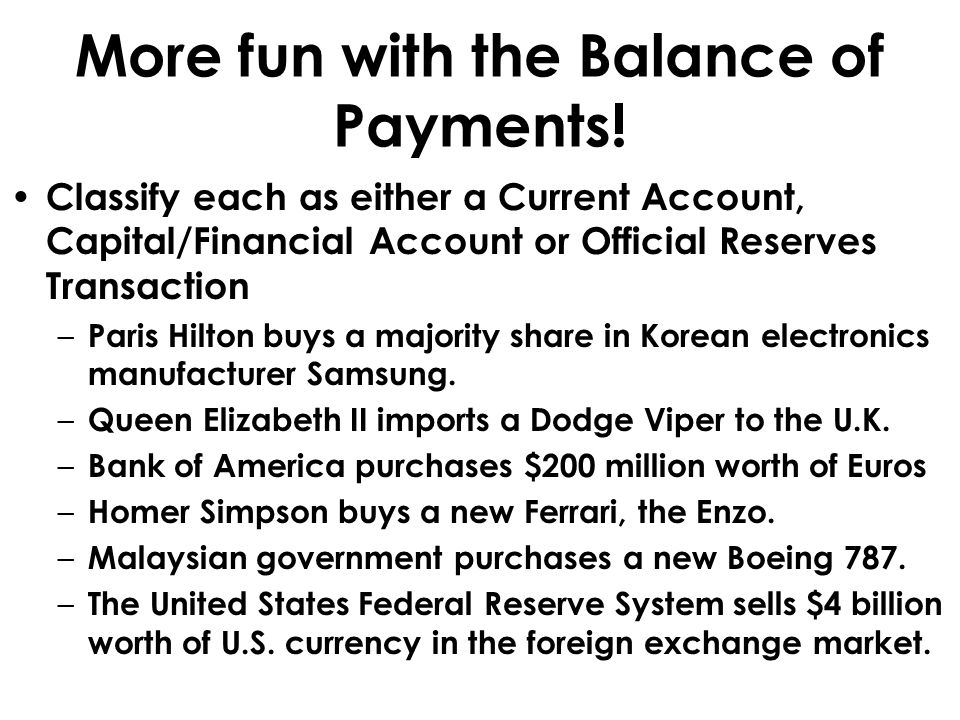 More fun with the Balance of Payments!