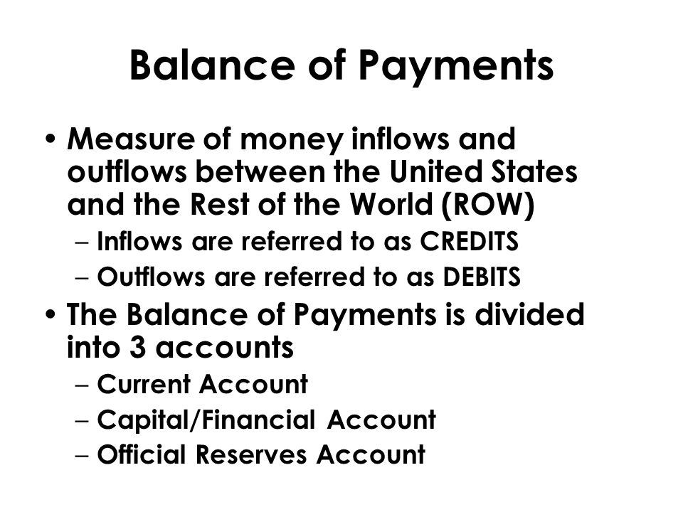 Balance of Payments Measure of money inflows and outflows between the United States and the Rest of the World (ROW)