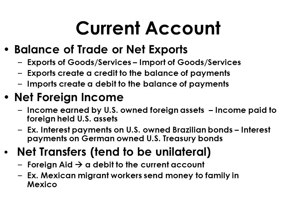 Current Account Balance of Trade or Net Exports Net Foreign Income
