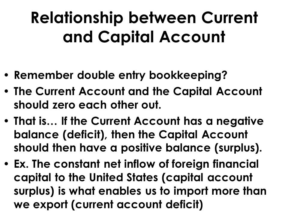 Relationship between Current and Capital Account