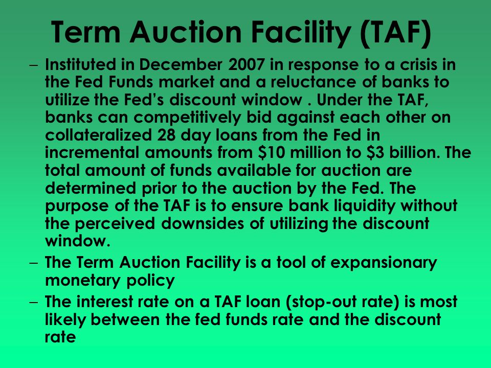 Term Auction Facility (TAF)