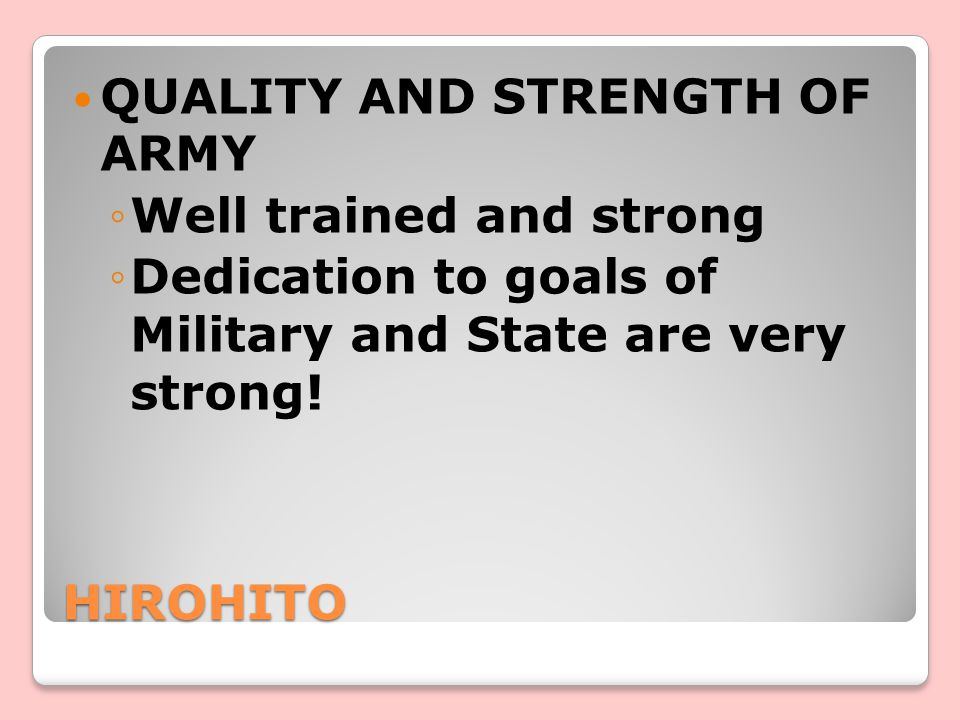 QUALITY AND STRENGTH OF ARMY
