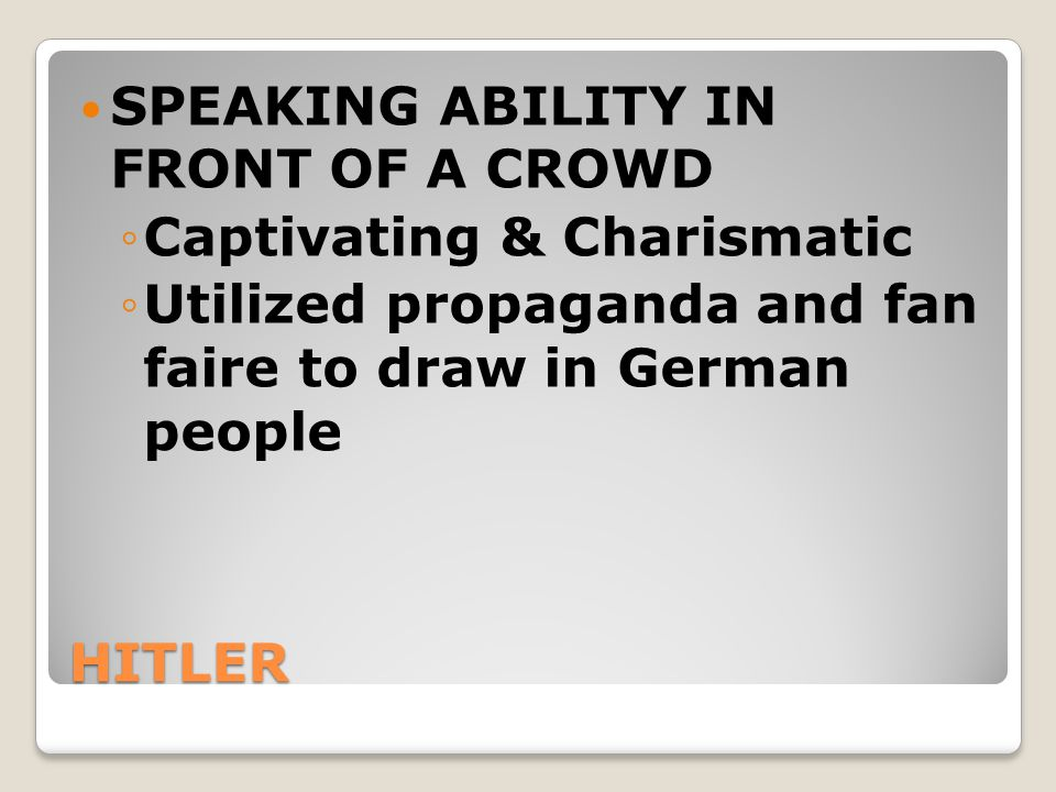 SPEAKING ABILITY IN FRONT OF A CROWD