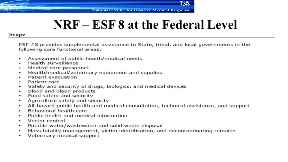 NRF – ESF 8 at the Federal Level