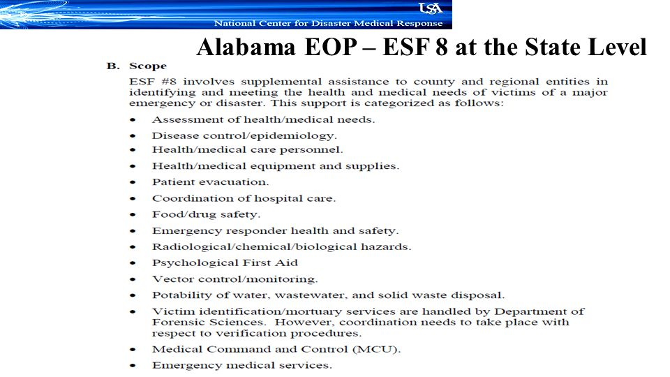Alabama EOP – ESF 8 at the State Level