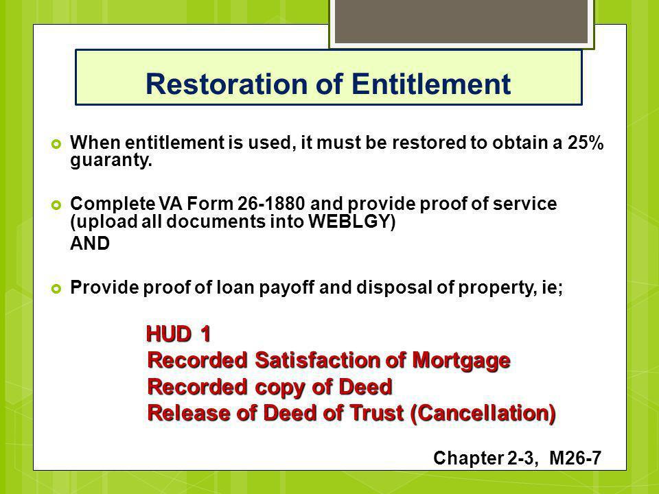 Restoration of Entitlement