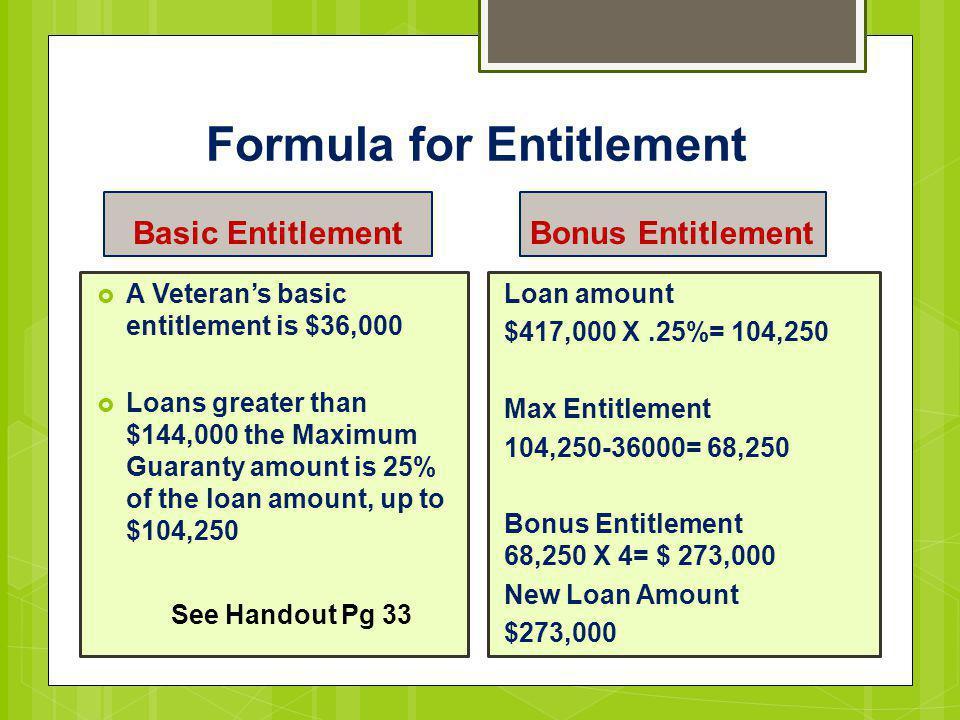 Formula for Entitlement