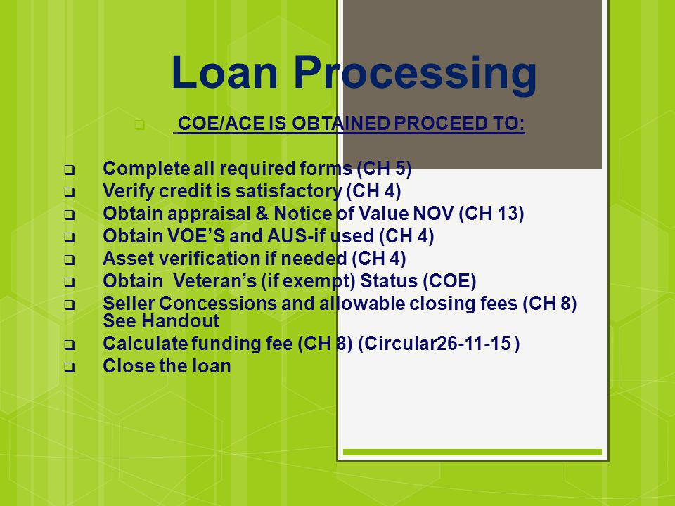 COE/ACE IS OBTAINED PROCEED TO: