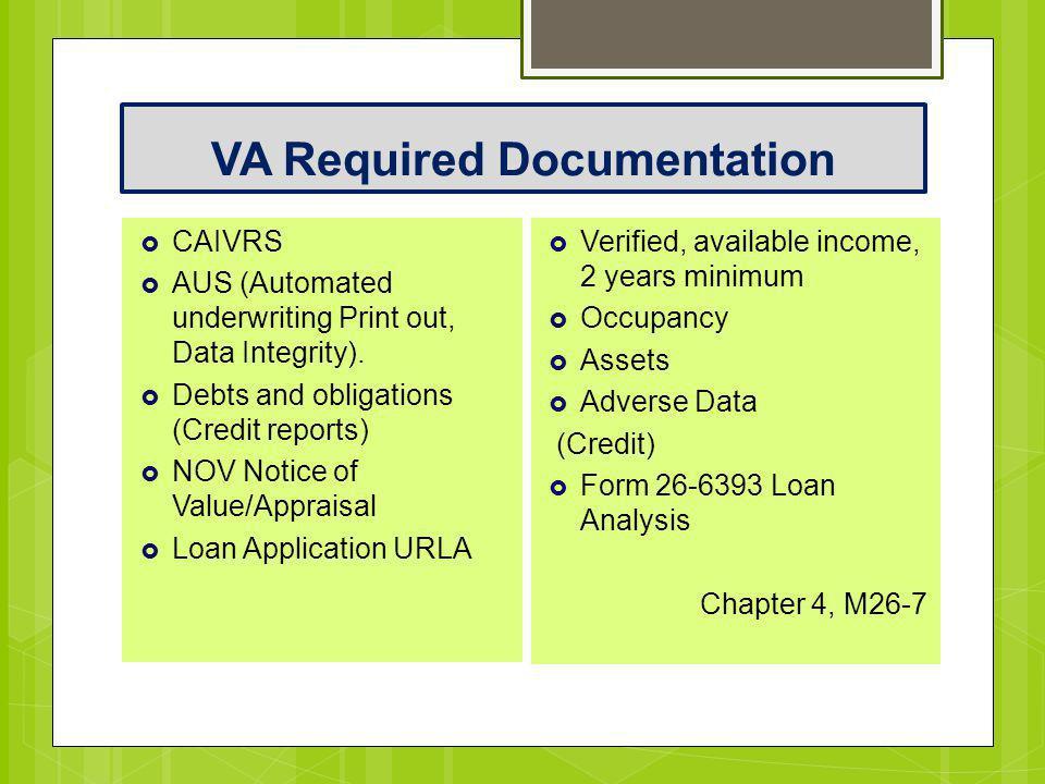 VA Required Documentation