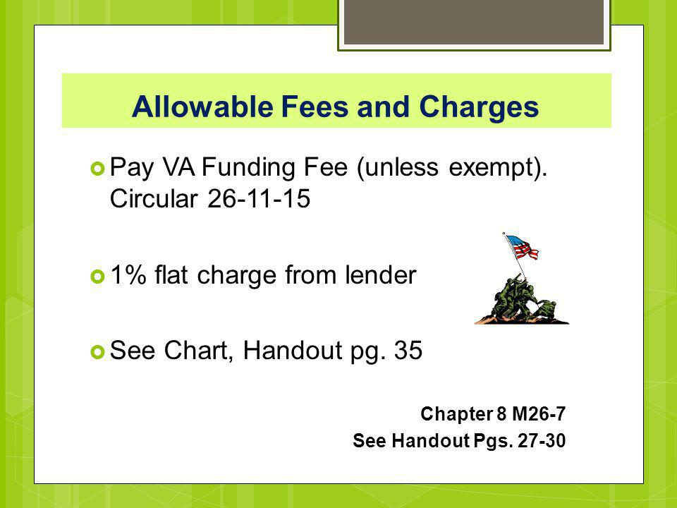 Allowable Fees and Charges