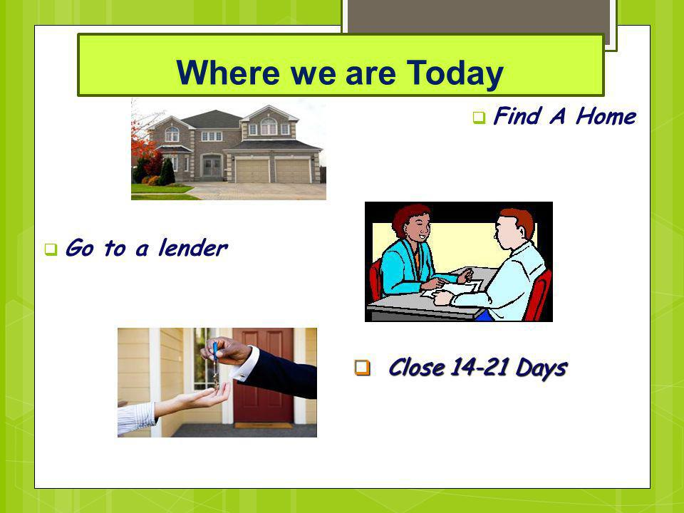 Where we are Today Find A Home Go to a lender Close 14-21 Days