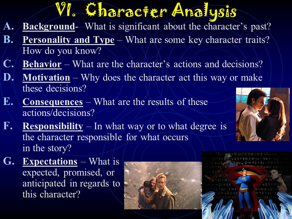 VI. Character Analysis Background- What is significant about the character's past