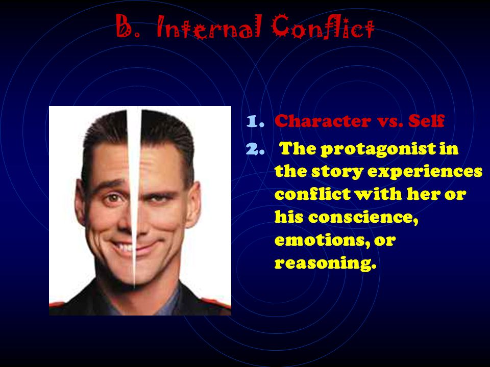 B. Internal Conflict Character vs. Self