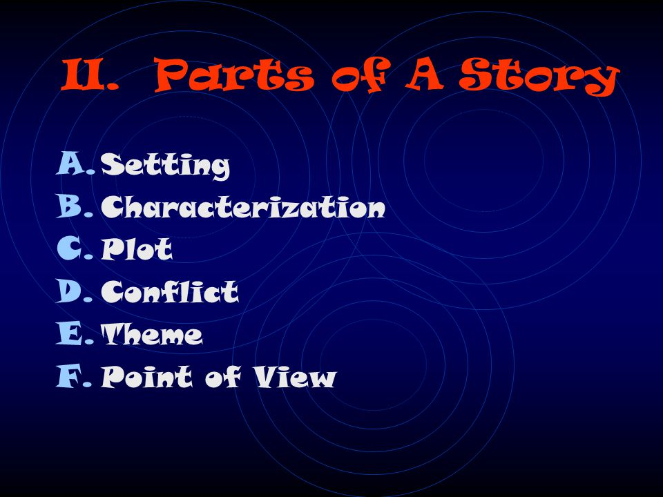 II. Parts of A Story Setting Characterization Plot Conflict Theme