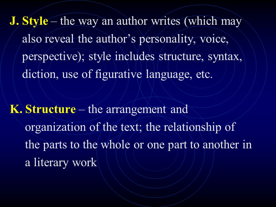 J. Style – the way an author writes (which may