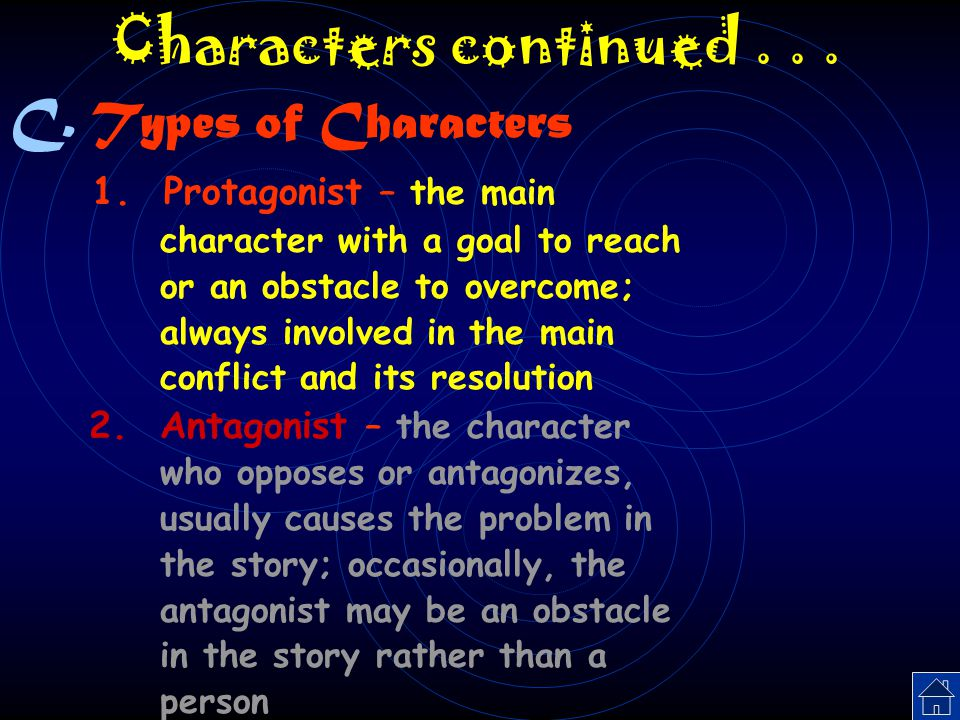 Characters continued . . . Types of Characters