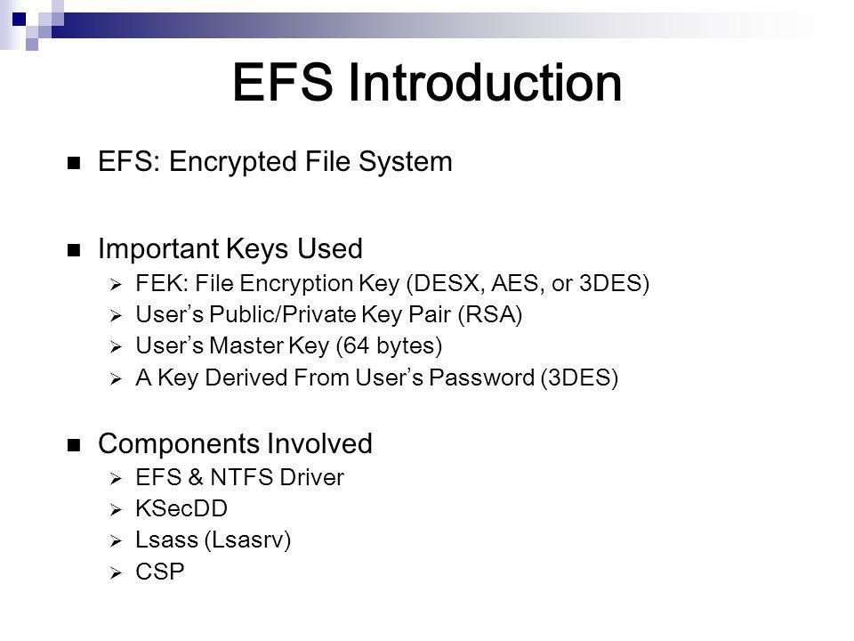 EFS Introduction EFS: Encrypted File System Important Keys Used